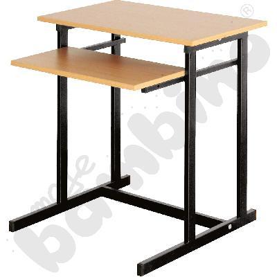 Stolik komputerowy NEO 1 1-os. ze stałą półką na klawiaturę  rozm. 6 - czarny