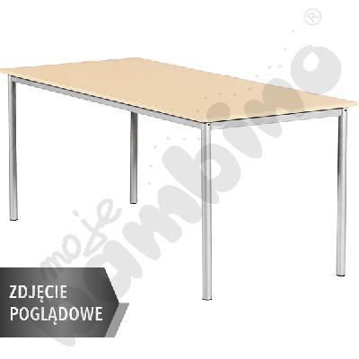 Stół Mila 160x80 rozm. 5, 8os., stelaż czerwony, blat brzoza, obrzeże ABS, narożniki proste