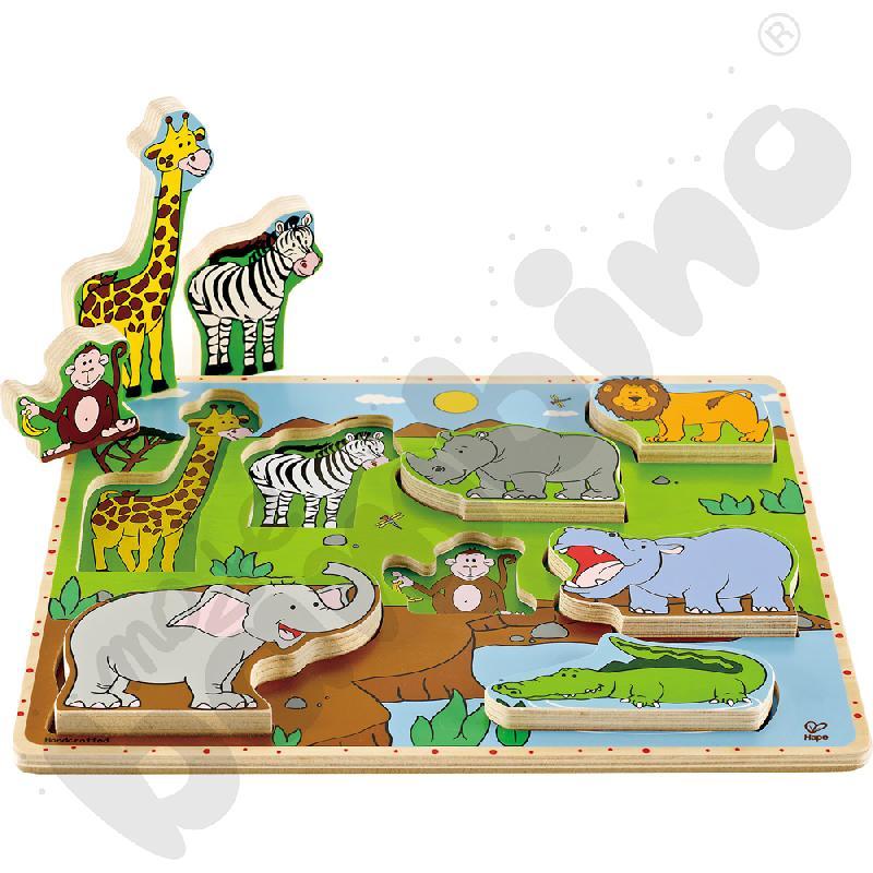 Drewniana nakładanka - zoo