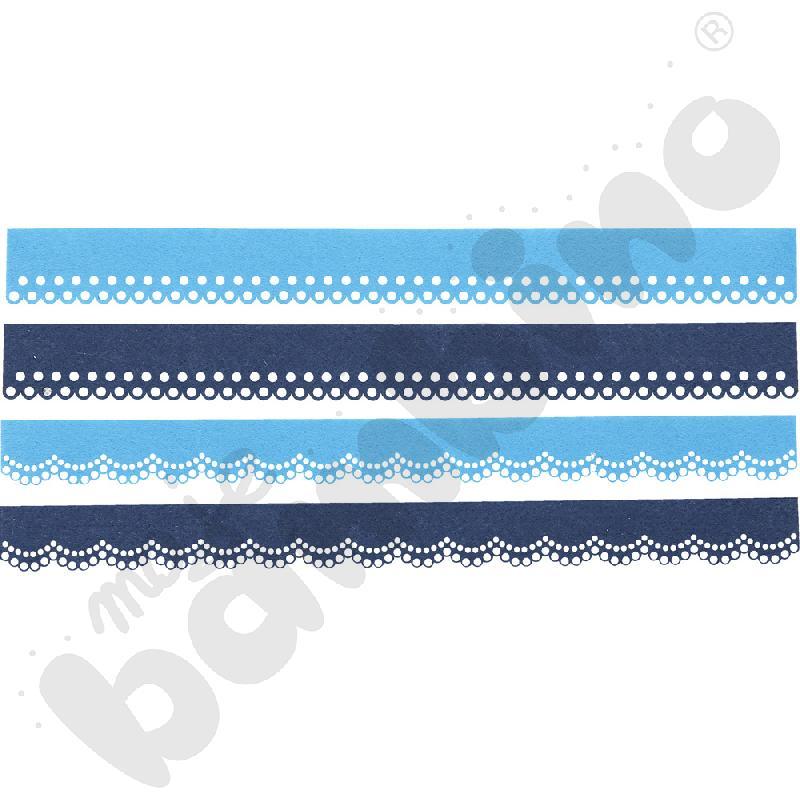 Dekoracyjny border z filcu granatowo-niebieski