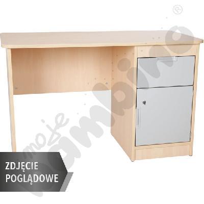 Quadro - biurko z szafką i 1 szufladą  - szare, w białej skrzyni