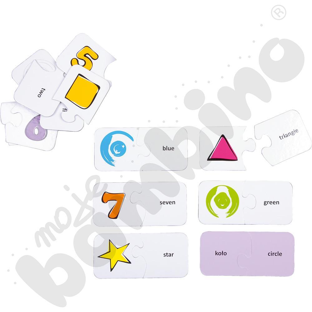 Dwustronne puzzle do j. angielskiego - liczby, kolory i kształty