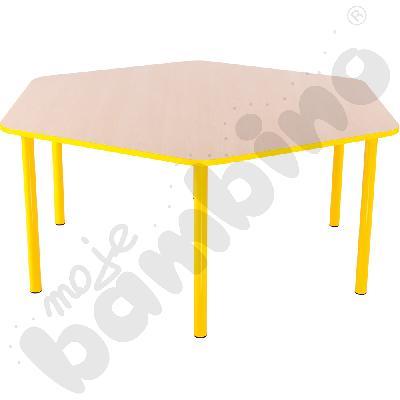 Stół Bambino sześciokątny wys. 40 cm z żółtym obrzeżem