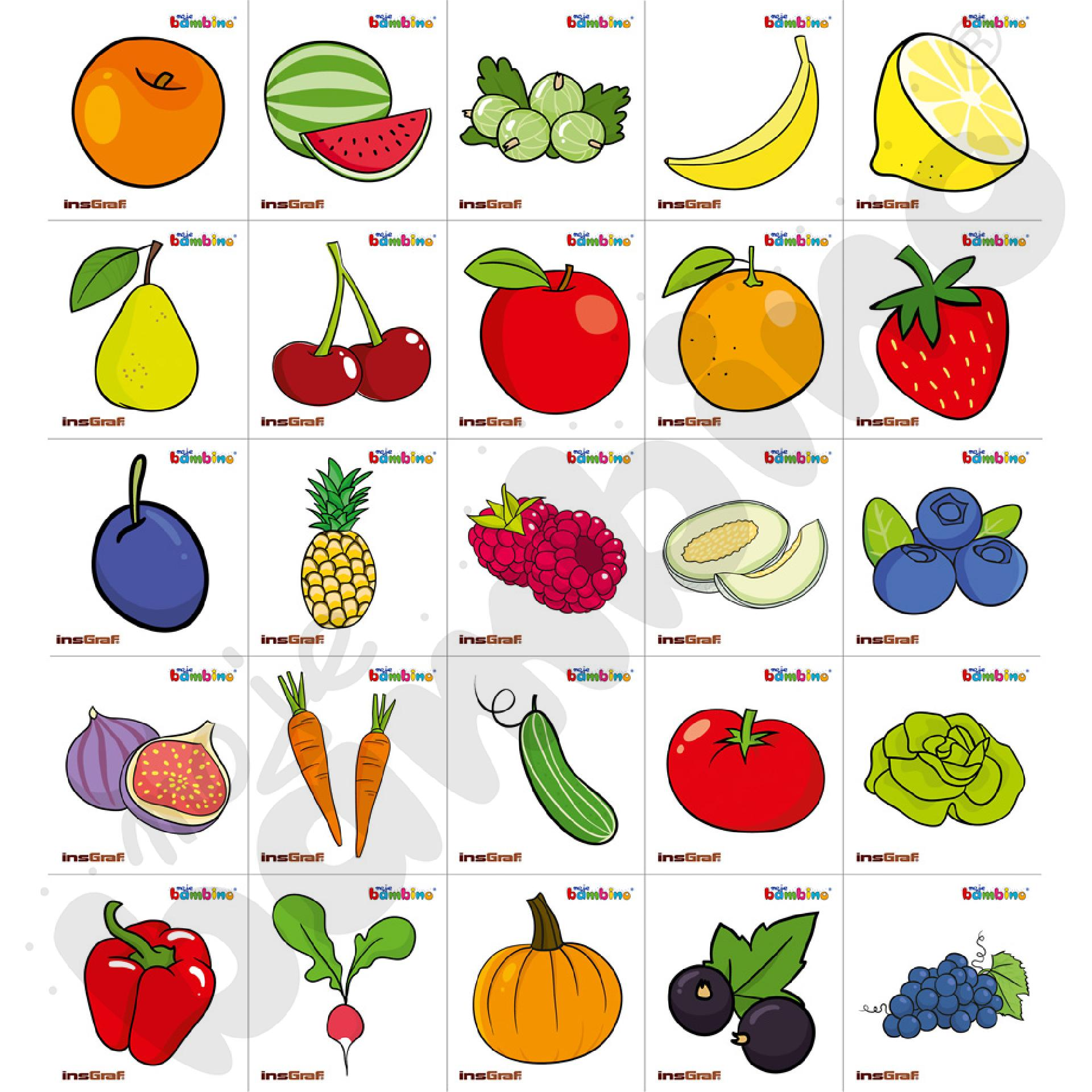 Naklejki na szatnię - owoce i warzywa, 25 szt.