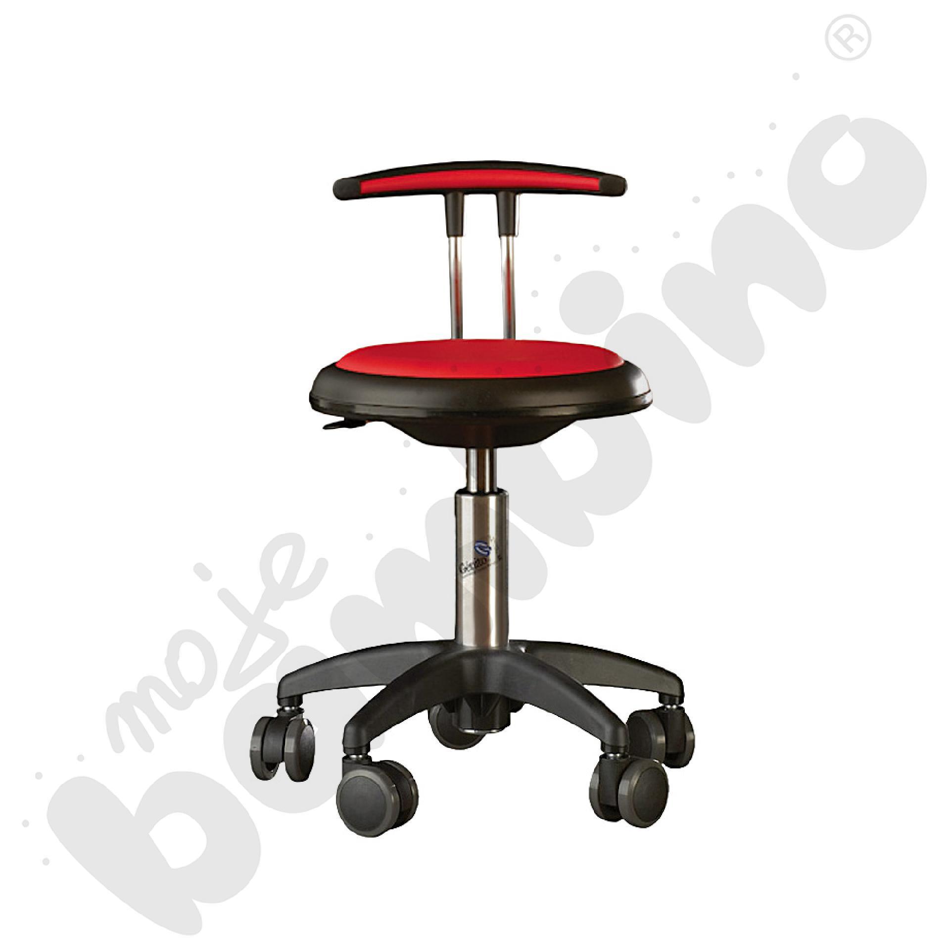 Krzesło Genito z oparciem, wys. 38-48 cm - czerwone
