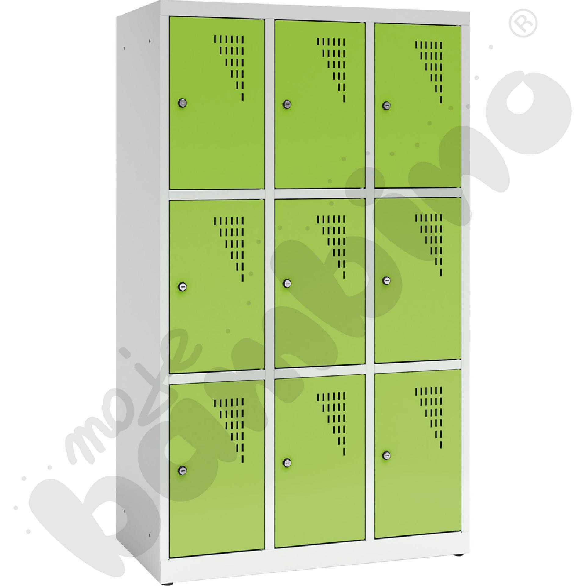 Szafa ubraniowa z 9 schowkami, 150 cm - drzwi jasnozielone