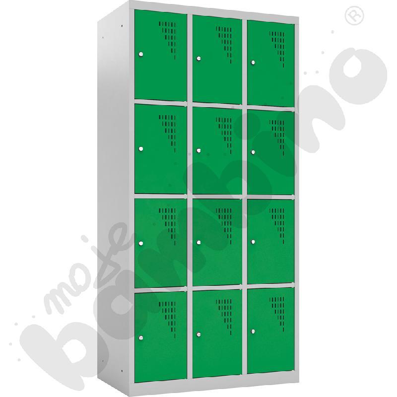 Szafka skrytkowa z 12 schowkami drzwi zielone