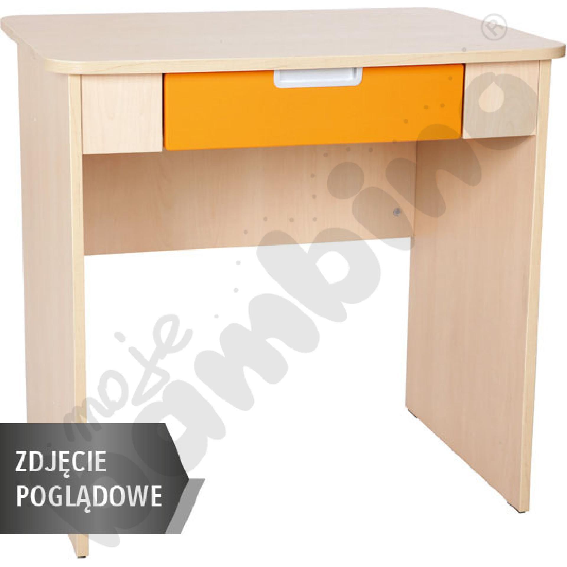 Quadro - biurko z szeroką szufladą - pomarańczowe, w białej skrzyni