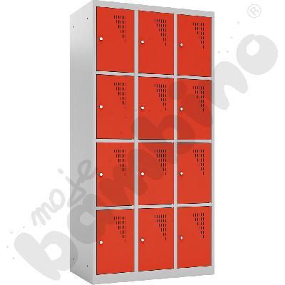 Szafka skrytkowa z 12 schowkami drzwi czerwone