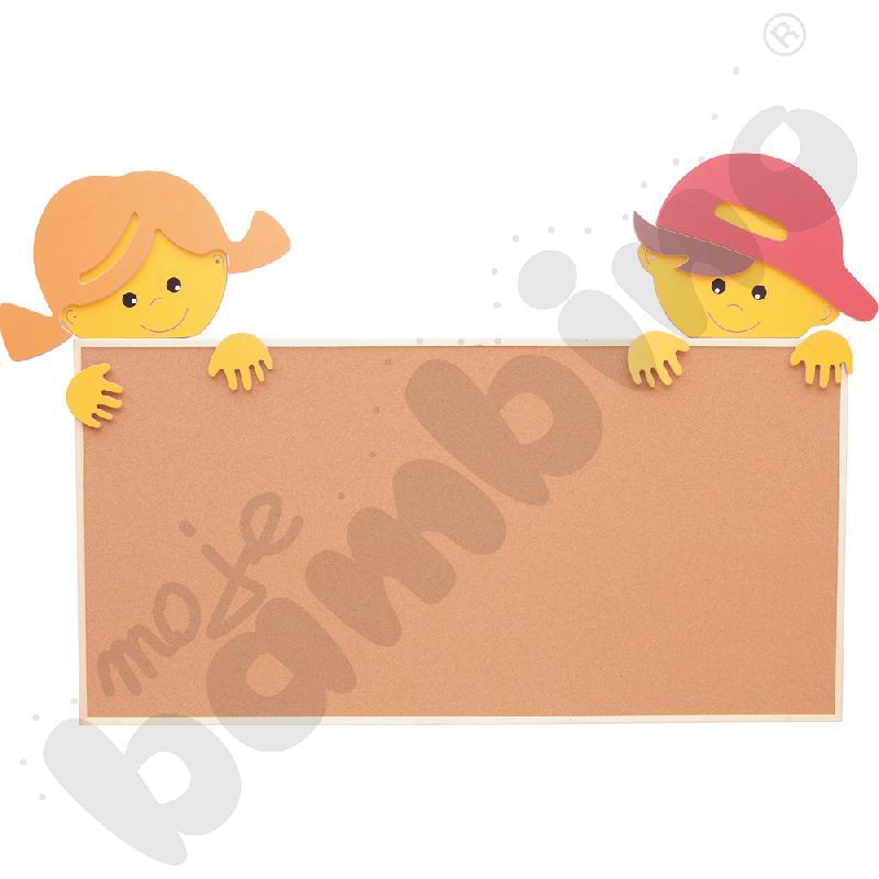 Aplikacja z chłopcem i dziewczynką do tablicy korkowej 100 x 200 cm