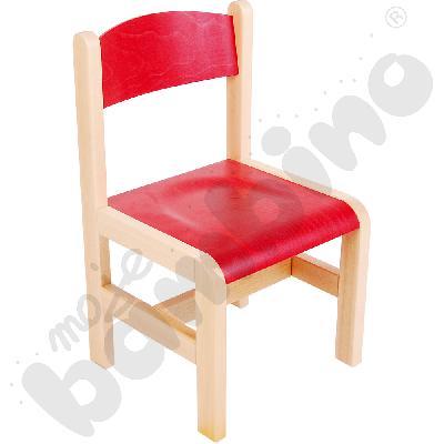 Krzesło drewniane czerwone ze stopką filcową rozm. 1