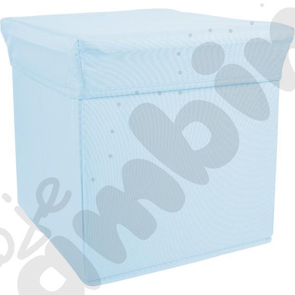 Pufa-pojemnik z tkaniny - niebieska