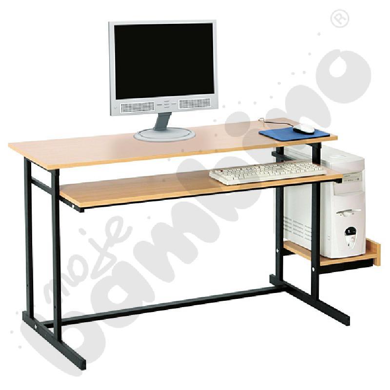 Stolik komputerowy NEO 2  2-os. ze stałą półką na klawiaturę  rozm. 6 - czarny