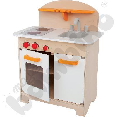 Drewniany kącik kuchenny - biały