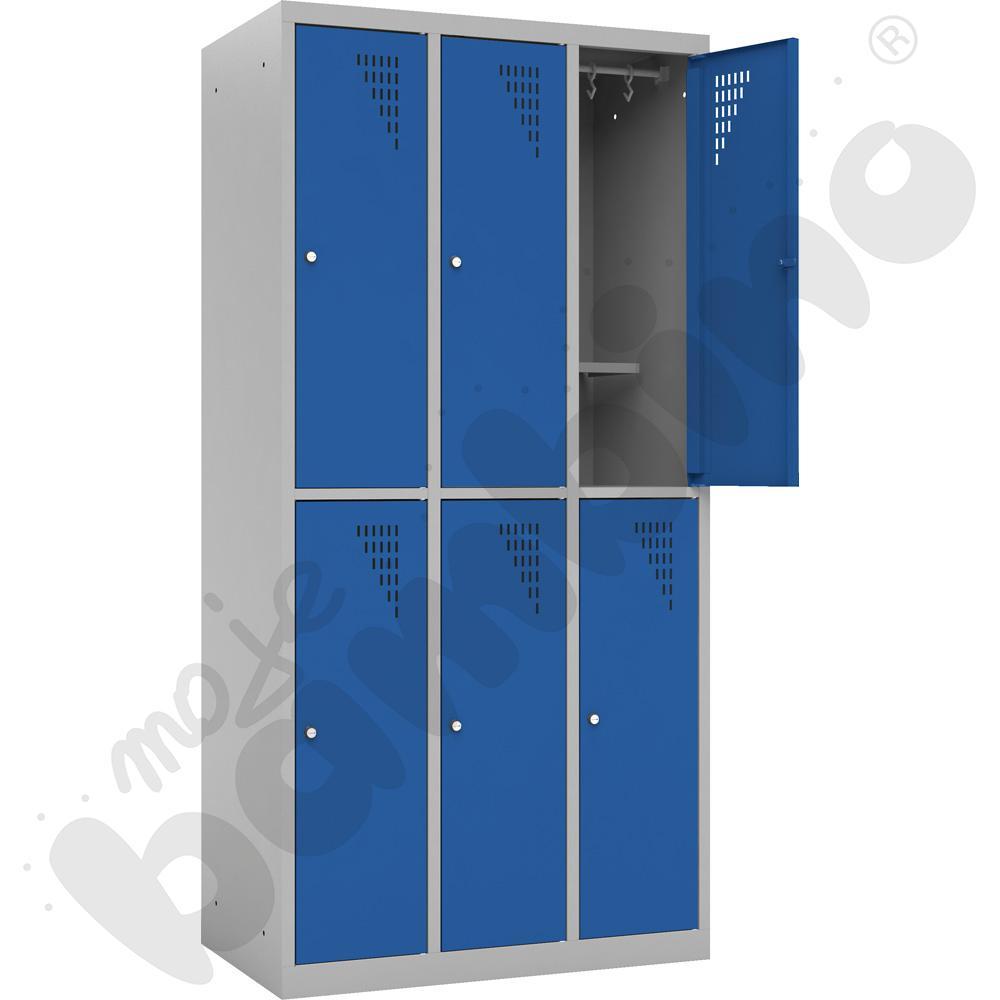 Szafa ubraniowa z 6 schowkami z dodatkową półką - drzwi niebieskie
