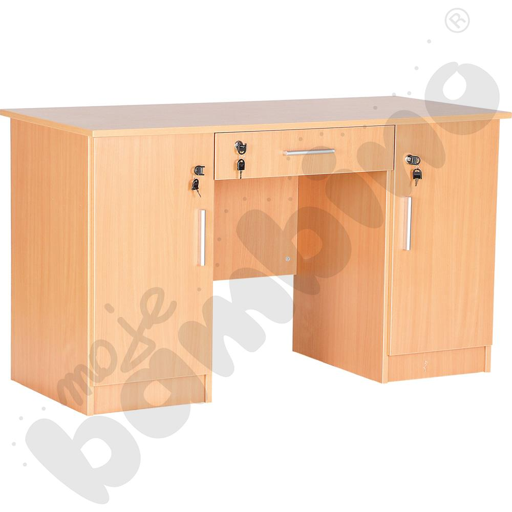 Biurko Vigo z 2 szafkami i szufladą buk