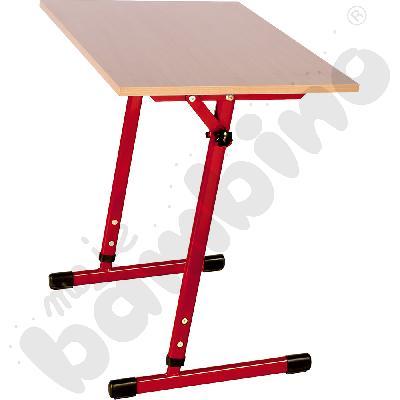 Stół T 1-os. z regulowaną wysokością 3-4, z pochylnym blatem czerwony