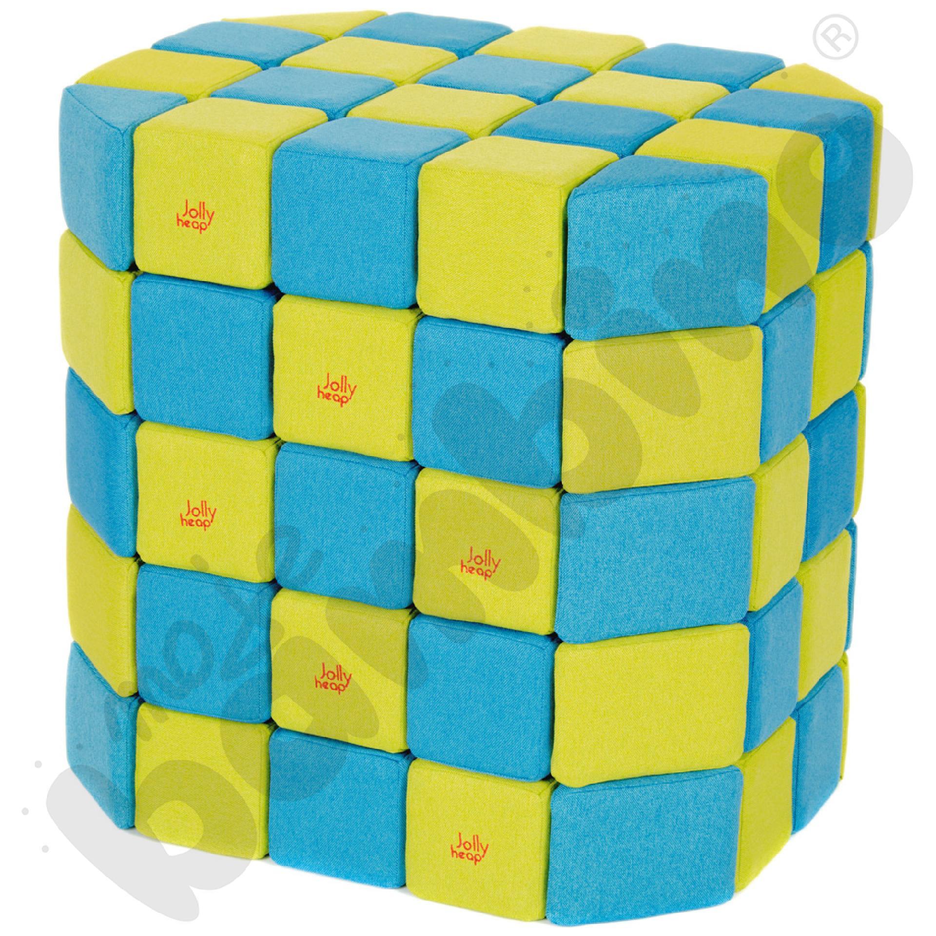 Zestaw klocków JollyHeap - niebiesko-limonkowe, 100 szt.