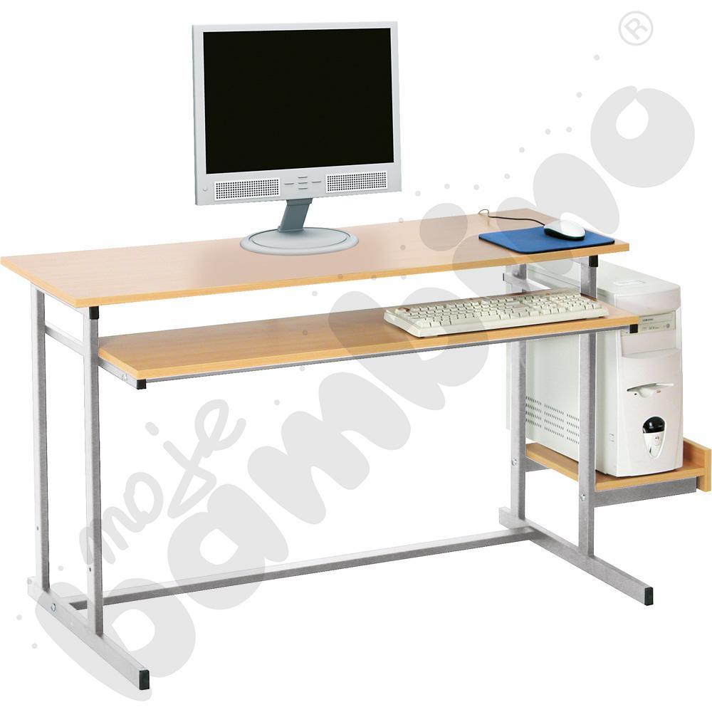 Stolik komputerowy NEO 2  2-os. ze stałą półką na klawiaturę  rozm. 6 - srebrny