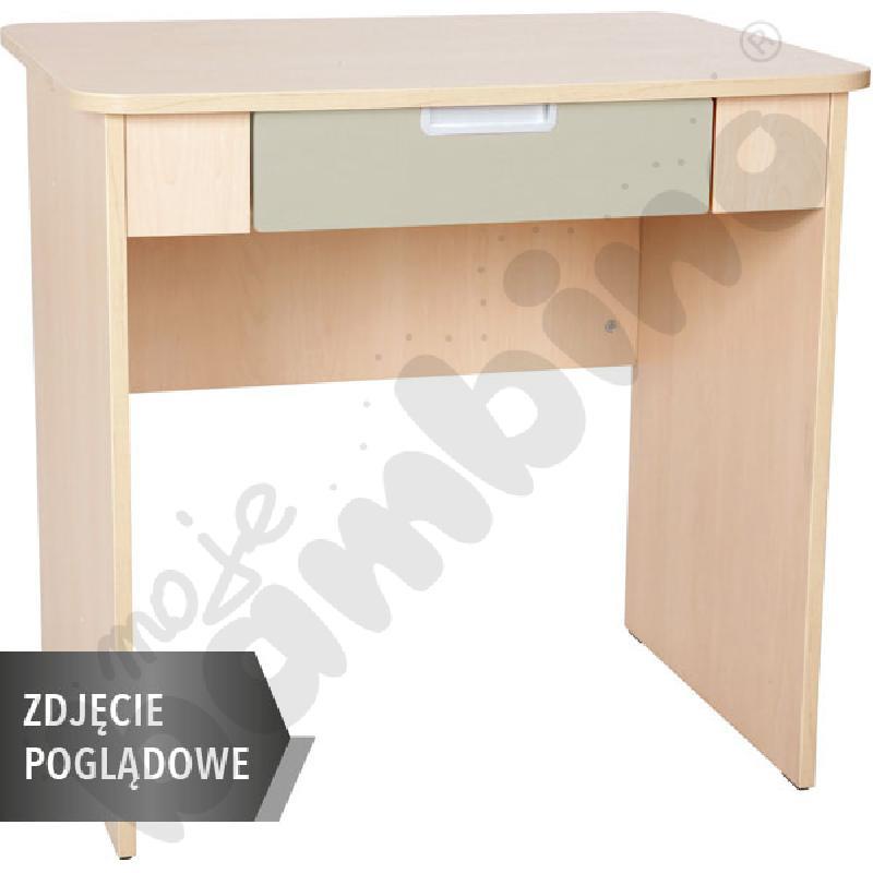 Quadro - biurko z szeroką szufladą - beżowe, w białej skrzyni