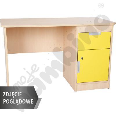 Quadro - biurko z szafką i 1 szufladą  - żółte, w białej skrzyni