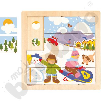 Puzzle cztery pory roku zima