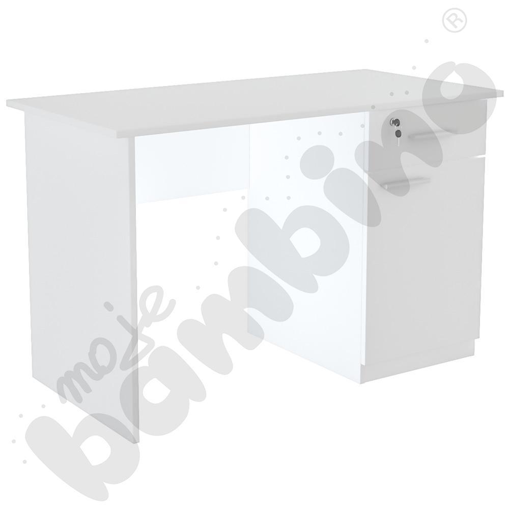 Biurko Vigo z szafką i szufladą białe