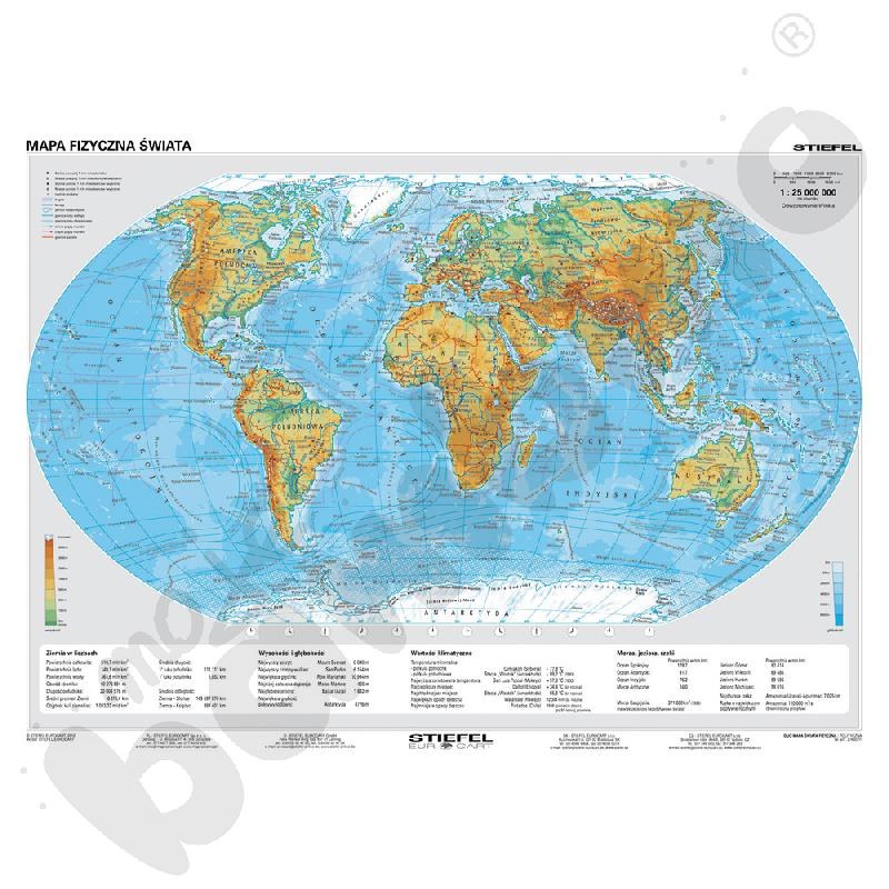 Mapa fizyczna/polityczna Świata