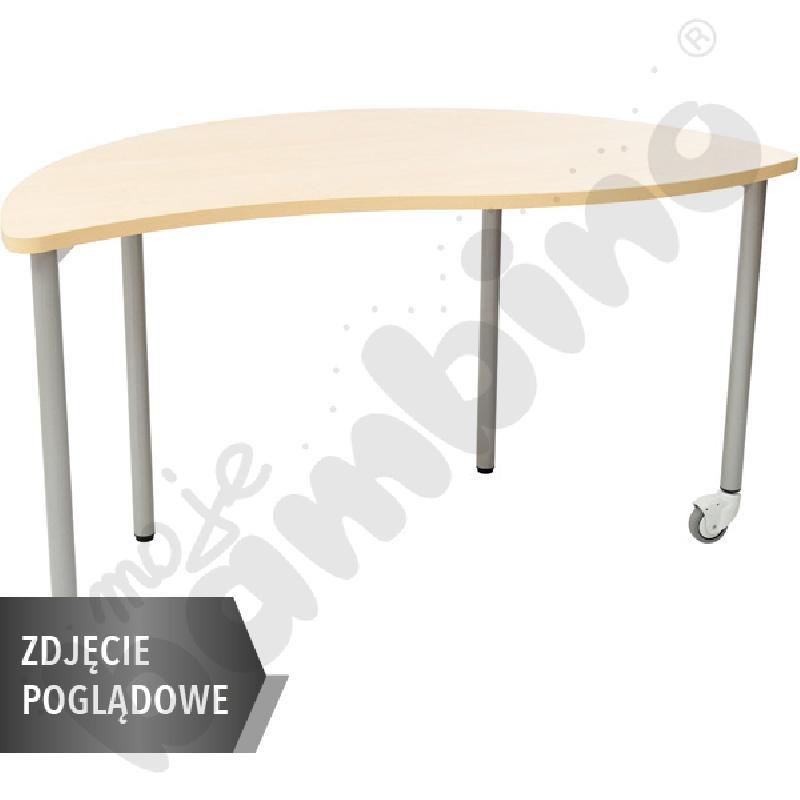 Stół Mila półokrągły z falą, mobilny, rozm. 2 - brzoza