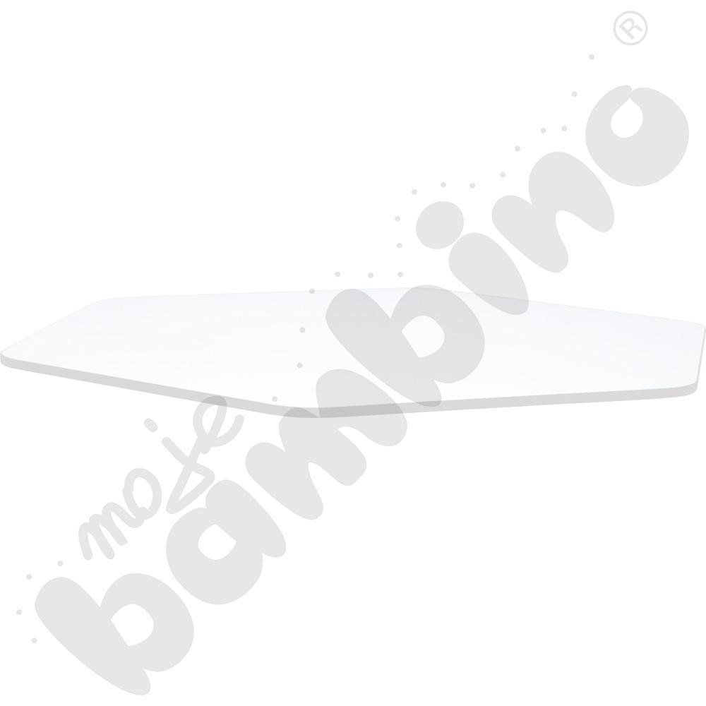Blat Quadro biały sześciokątny, szare obrzeże