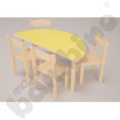 Stół Flexi półokrągły żółty + 4 krzesła Filipek rozm. 3 buk
