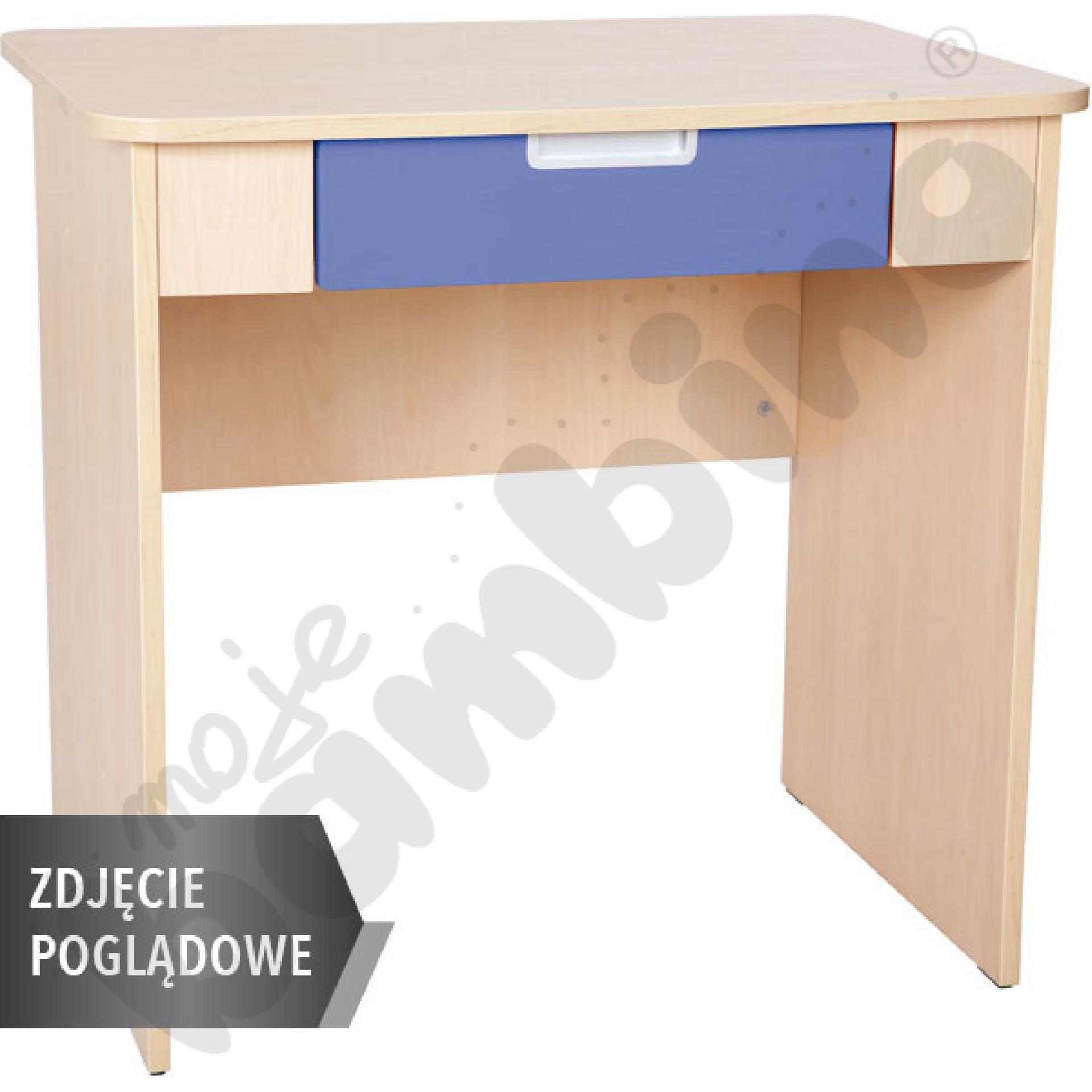 Quadro - biurko z szeroką szufladą - niebieskie, w białej skrzyni