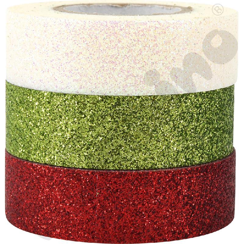 Taśmy brokatowe samoprzylepne (biała, zielona, czerwona)