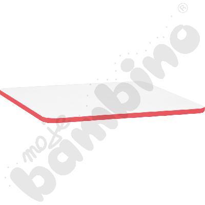 Blat Quadro biały prostokątny, czerwone obrzeże