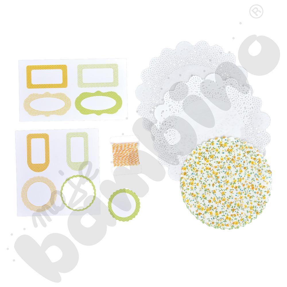 Ozdoby do słoików- zielono-żółte kolory