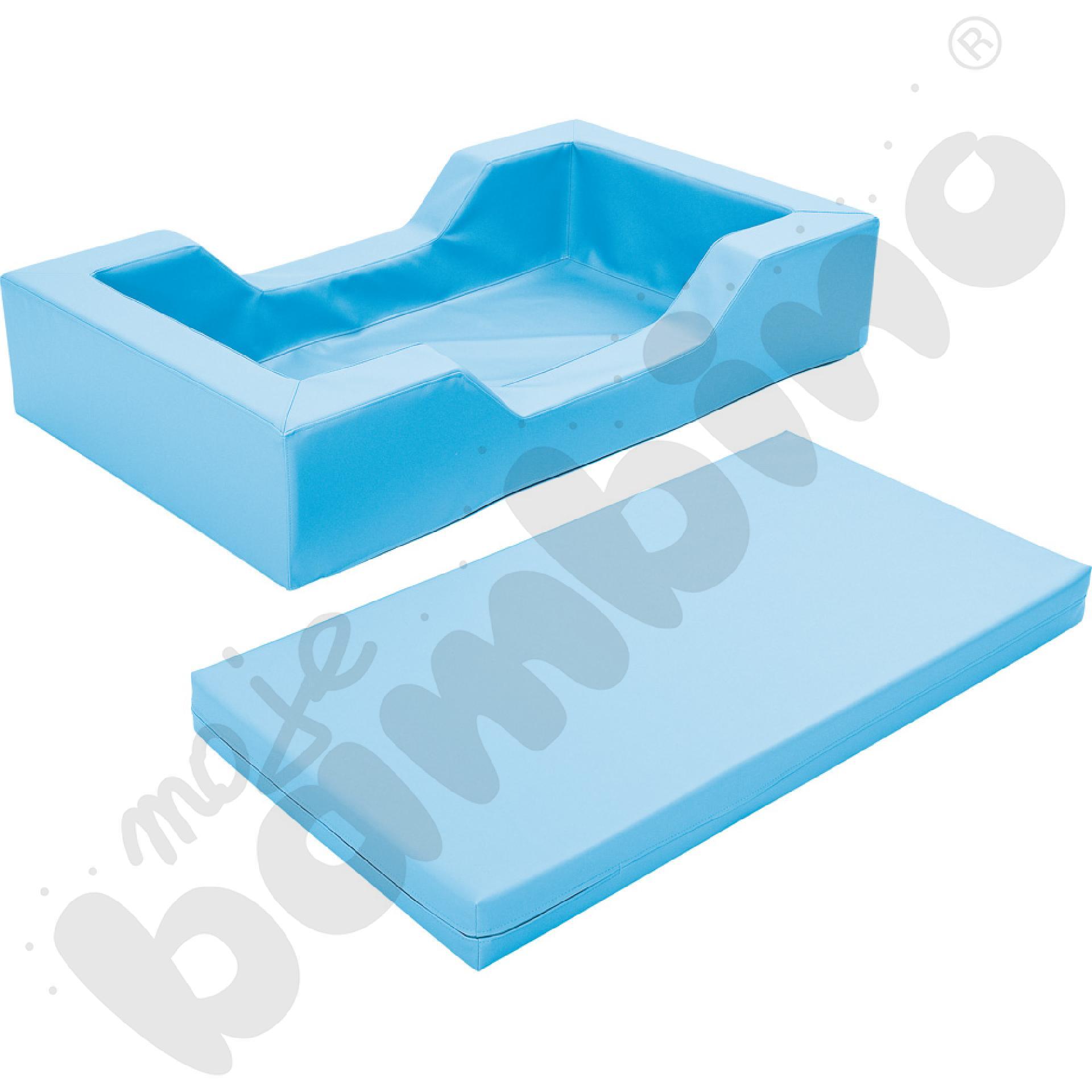 Łóżeczko piankowe z wycięciami błękitne