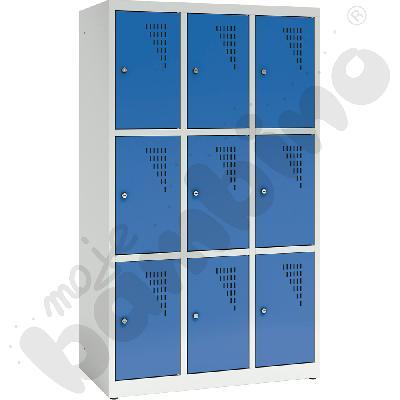 Szafa ubraniowa z 9 schowkami, 150 cm - drzwi niebieskie