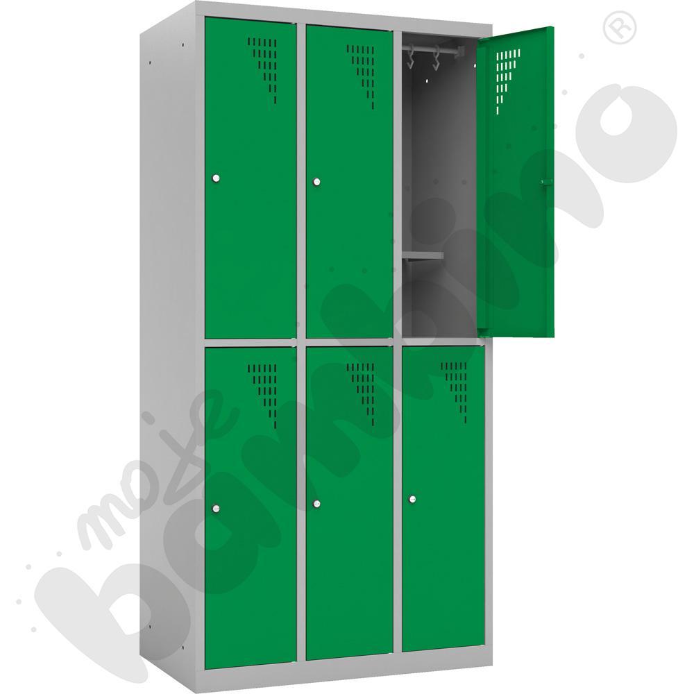 Szafa ubraniowa z 6 schowkami z dodatkową półką  - drzwi zielone