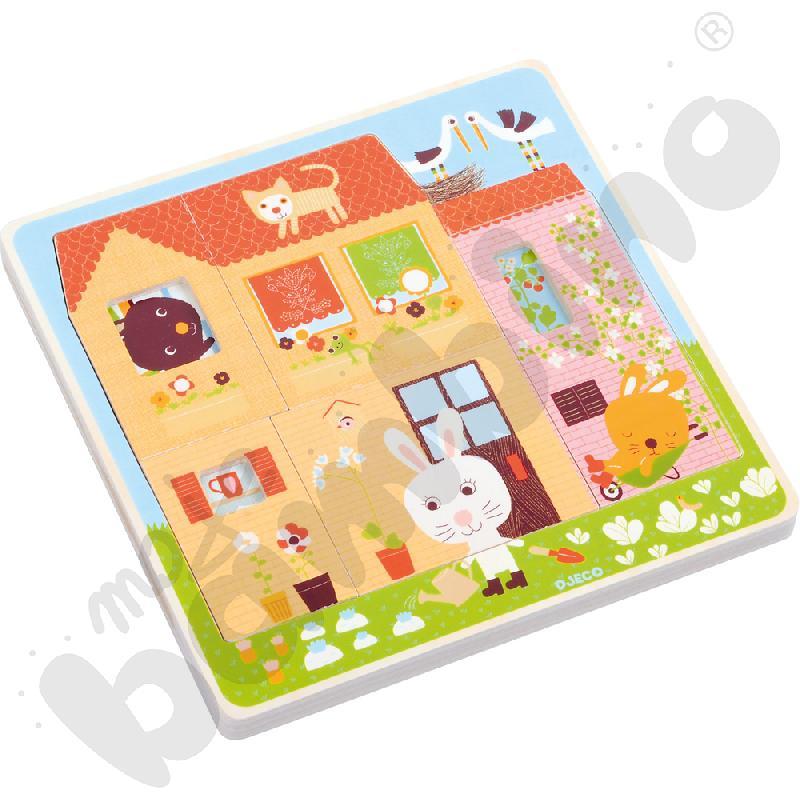 Puzzle 3 w 1 domek królika