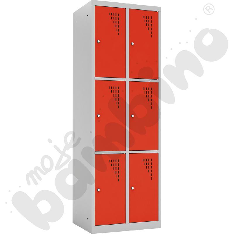 Szafka ubraniowa z 6 schowkami drzwi czerwone