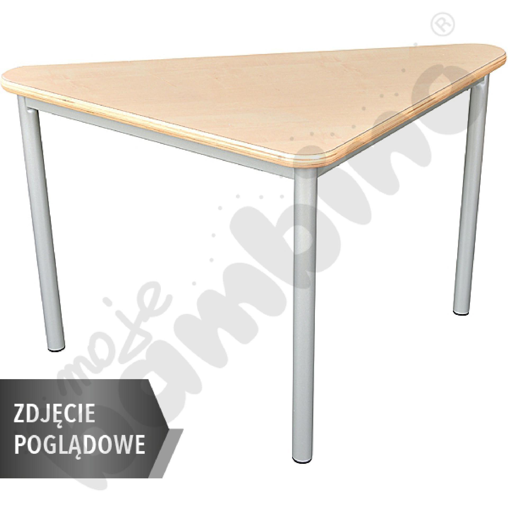 Stół Mila trójkątny 80x80x108, HPL - jasnozielony, zaokrąglony, rozm. 4