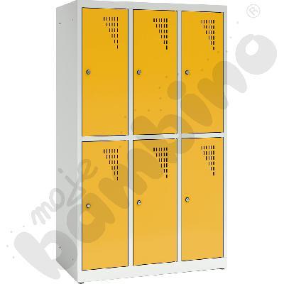 Szafa ubraniowa z 6 schowkami, 150 cm - drzwi żółte