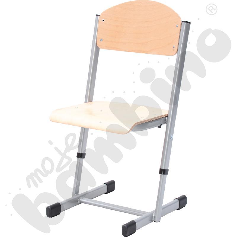 Krzesło T z regulowaną wys. rozm. 2-3 srebrne