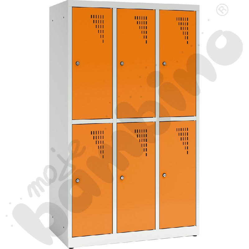 Szafa ubraniowa z 6 schowkami, 150 cm - drzwi pomarańczowe