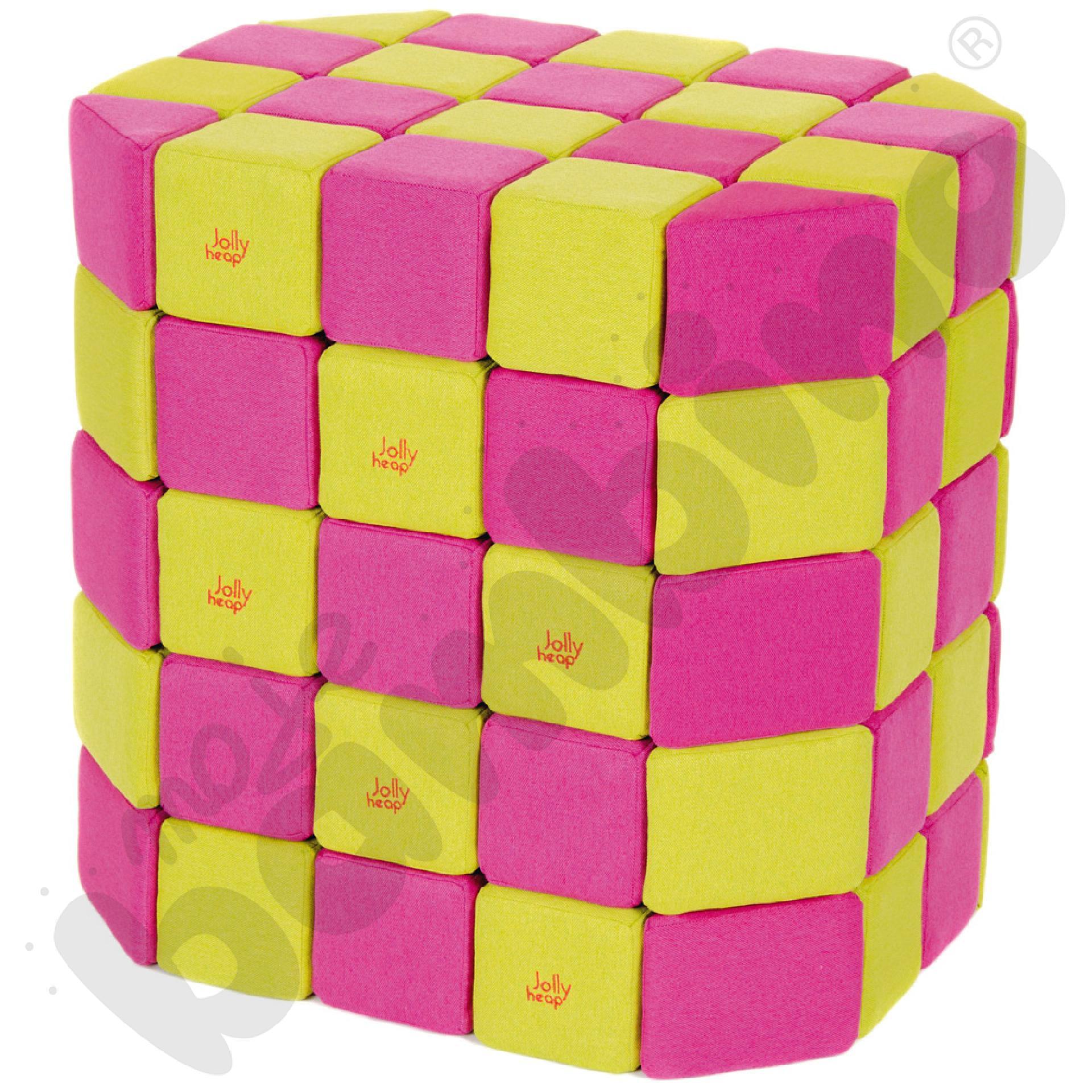 Zestaw klocków JollyHeap - różowo-limonkowe, 100 szt.