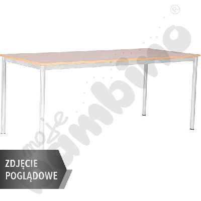Stół Mila 180x80 rozm. 6, 8os., stelaż niebieski, blat szary, obrzeże ABS, narożniki proste