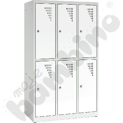 Szafa ubraniowa z 6 schowkami, 150 cm - drzwi białe