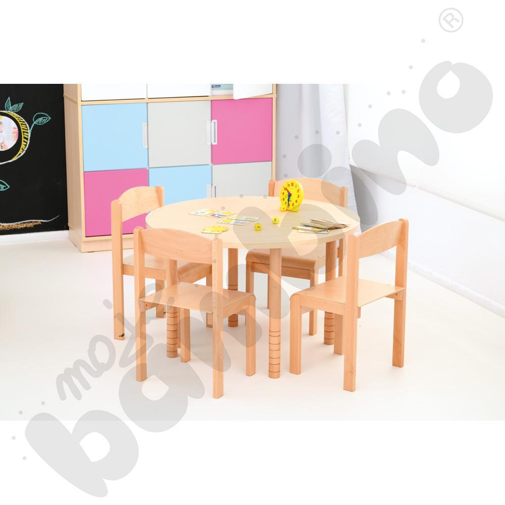 Stół okrągły brzoza z 4...