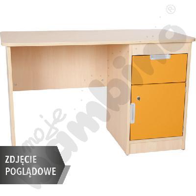 Quadro - biurko z szafką i 1 szufladą  - pomarańczowe, w białej skrzyni