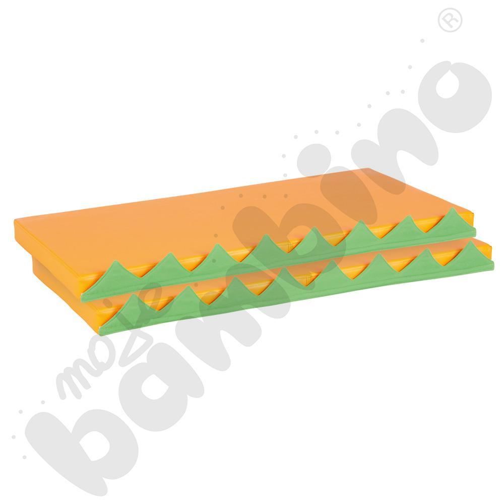 Materace prostokątne z motywem trawy,  2 szt. - pomarańczowe
